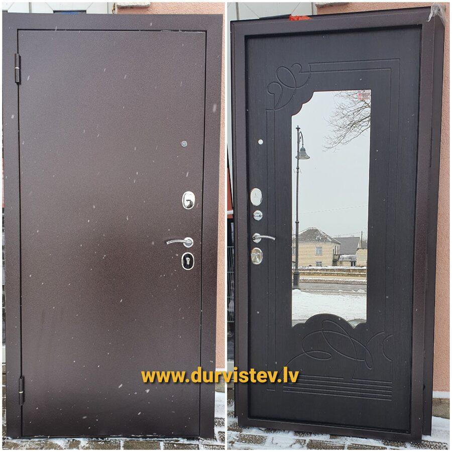 metāla durvis ārdurvis ar spoguli mājai dzīvoklim