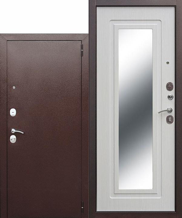 metāla durvis ārdurvis ar lielo spoguli majai  dzīvoklim