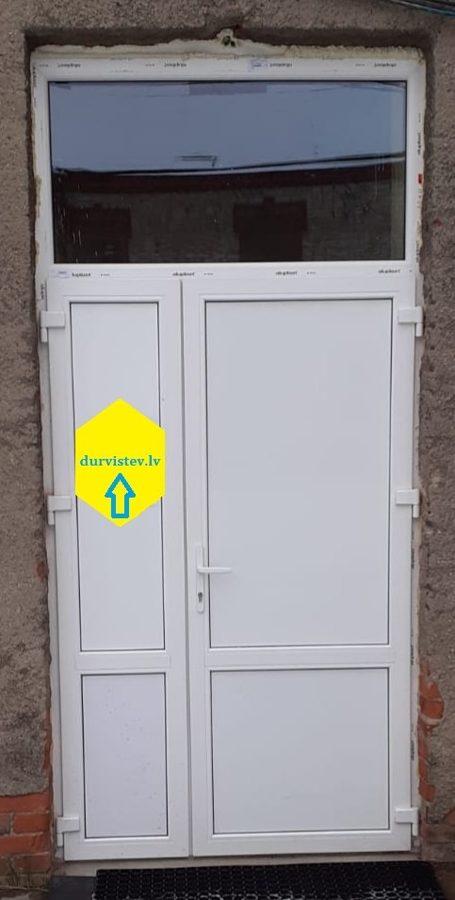 PVC divviru durvis ar virsgaismu